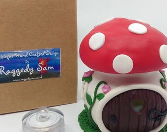 Little round Toadstool Fairy house with LED light