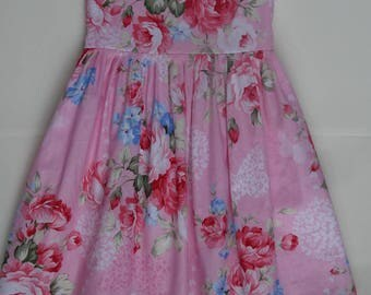 Handmade  Beautiful Pink Floral Butterfly  dress age 4-5 years