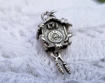 Charming Co Co Clock Charm Pendant 925 Sterling Silver - 1990  - Vintage