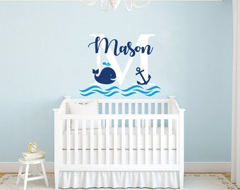 Boys Name Wall Decal / Whale Wall Decal / Nursery Baby Boy Room Decor /  Anchor Part 75