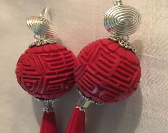 Red Pendant Earrings