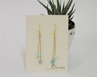 frost blue amazonite semiprecious stone dangle earrings, minimal, modern, gold plated,  perfect birthday gift valentines day