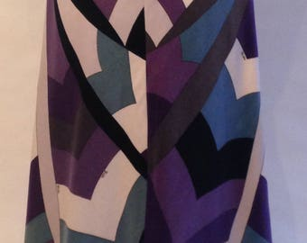 Psychedelic 60s geometric print Pucci long velvet skirt