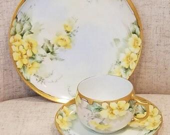 Limoges tea cup, saucer, plate Gilded edges, AK France Limoges