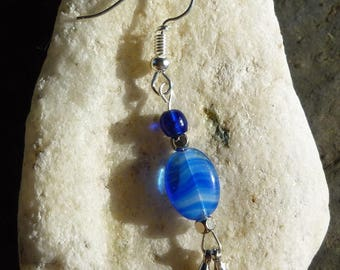 Blue and silver beaded earrings