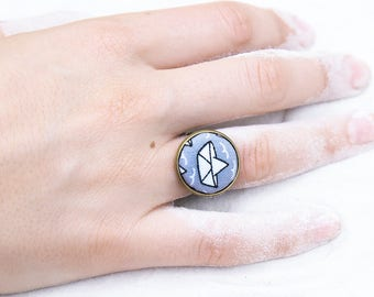 Large Adjustable ring with maritime look fabric