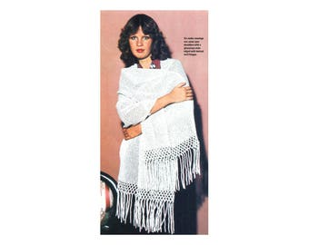 Simple Stole Shawl  Crochet Pattern with Fringe