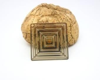 1 watermarked print square / diamond 31mm, gold (XEF28)