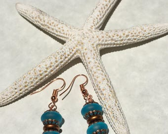Genuine Carribean blue Sea glass and pure Copper earrings