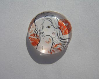 Glass cabochon round 20 mm with the image of woman