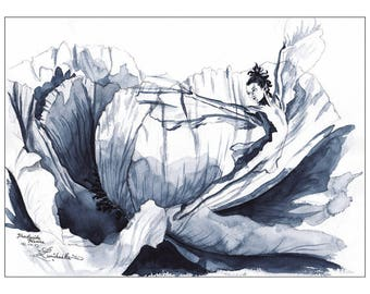 Illustration Translucide pivoine // Drawing fairy // Watercolor black and white  // Print format 15x9 inch
