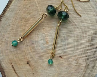 Green and Gold Minimalist Earrings
