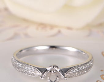 Semi Mount Ring Setting White Gold Engagement Ring Solitaire Wedding Bridal Double Half Eternity Ring Antique Anniversary Women Gift for Her