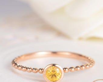Yellow Sapphire Ring Bezel Set Antique Engagement Ring Gold Stacking Eternity Beaded Retro Mini Thin Birthstone Wedding Bridal Women Gift
