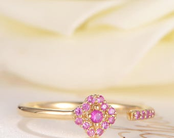 Pink Sapphire Ring Yellow Gold Ruby Open Ring Flower Floral Thin Pave Multi Stone Birthstone Cuff Ring Unique Cluster Anniversary Promise
