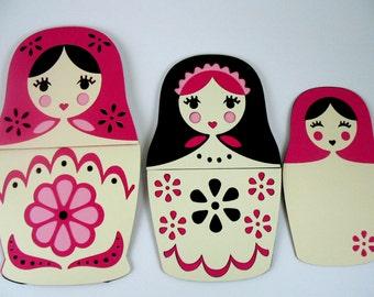 Interactive nesting dolls card, Any occasion card, Cute card, Handmade feminine friendship card, Hello card