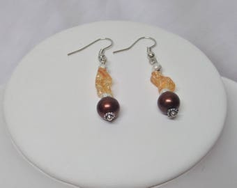 Chocolate brown Pearl wedding earrings, Pearl cracked
