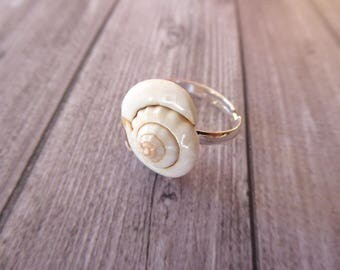 Adjustable silver plated seashell ring
