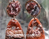 """Boucles d'oreilles feutrées  """"cheyenne"""" -  felted earrings   - pièce unique"""