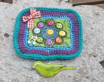 """Textile spindle and crochet """"singing bird"""""""