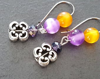 Earrings purple and orange beads, Pearl Crystal and metal