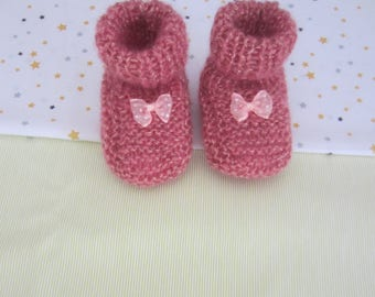 """Newborn """""""" pink - hand made knitted baby booties"""