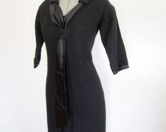 L XL 50s LBD Sheath Dress Day to Night Black Wool Sexy Sash Collar by Alison Ayres Extra Large