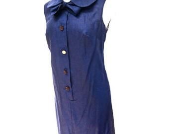 S M 60s Shift Dress Navy Blue Tie Neck Button Front Mid Century Mad Men Mod Cotton Mr Winn Teddi Small Medium