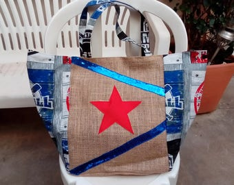 Tote bag, burlap and fabric print