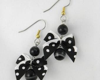 Bows, sardonyx and Smokey quartz earrings