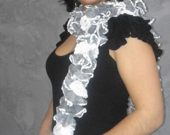 Fancy ruffle wool hand knitted scarf white and grey for women