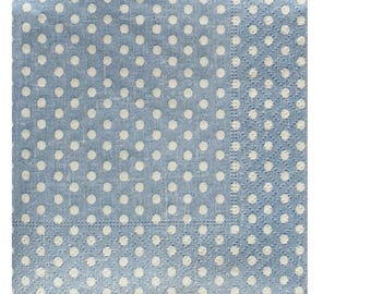 Set of 3 HOD078 dots background paper napkins blue