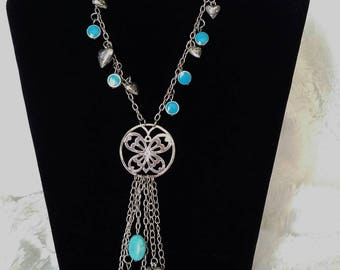 metal silver and turquoise necklace