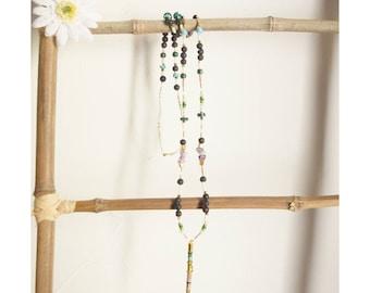 Hippie necklace, chic ethnic necklace, purple green necklace, necklace fluorite necklace xl, long necklace, talking stick