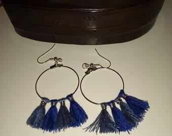 Hoop tassel earrings, blue tassels, blue hoop earrings