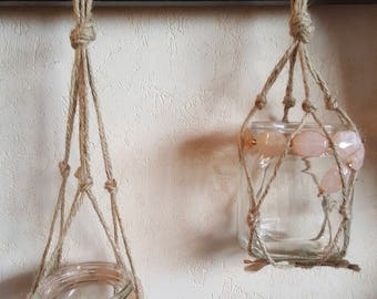 Pink macramé / recycling / wall decor