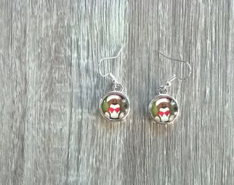 Christmas theme earrings 12 mm glass cabochons