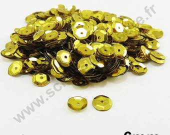 Glitter sequin curved - yellow - 6mm - x 400pcs