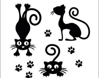 Wall decals cats silhouettes decoration + paws vinyl sticker