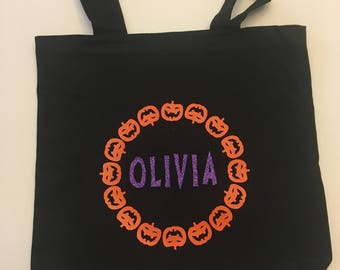 Personalized Halloween Trick-Or-Treat Tote Bag