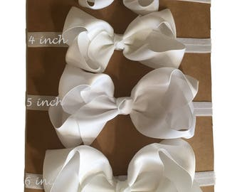 White baby headband, white hair bow, baby bow, white newborn headband, white bow for baptism, white infant headband, white hair accessory