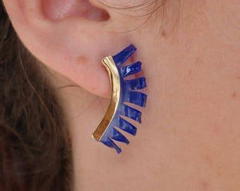 Blue earrings, Stud Earrings 18 K gold, recycling, earrings, Stud Earrings earrings.
