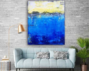 """Original abstract painting, modern wall art, acrylic on canvas painting titled """"City"""", size 70 x 90 cm by GIOYA"""