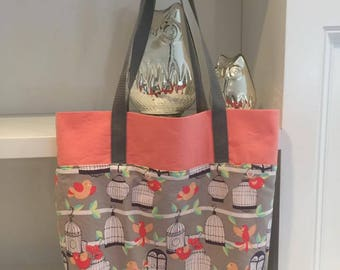 Coral and Gray Fully Lined With Pocket Tote Bag