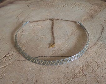 steel necklace and brass weave