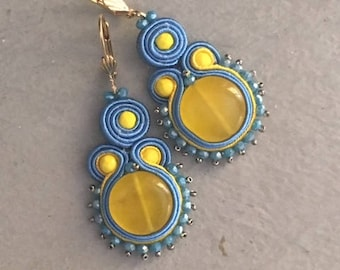 Yellow and blue soutache earrings