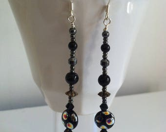 Black & silver beaded dangle earrings