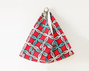 Sac de plage en wax / Tissu africain rouge coquelicot, turquoise & blanc / Sac fourre-tout / Tote bag wax / Réversible / 2 en 1 / Upcycling