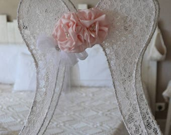 Shabby chic lace angel wing