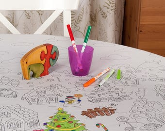 Colour me in Christmas table cloth with washable pens